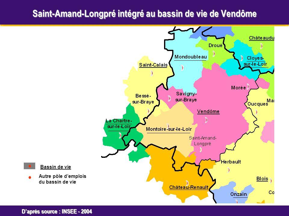Octobre 2005 Daprès source : INSEE - 2004 Bassin de vie Autre pôle demplois du bassin de vie Saint-Amand-Longpré intégré au bassin de vie de Vendôme