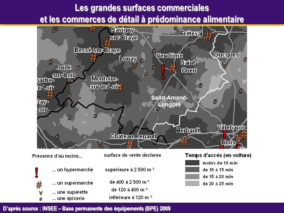 Octobre 2005 Daprès source : INSEE – Base permanente des équipements (BPE) 2009 Les grandes surfaces commerciales et les commerces de détail à prédominance alimentaire Saint-Amand- Longpré