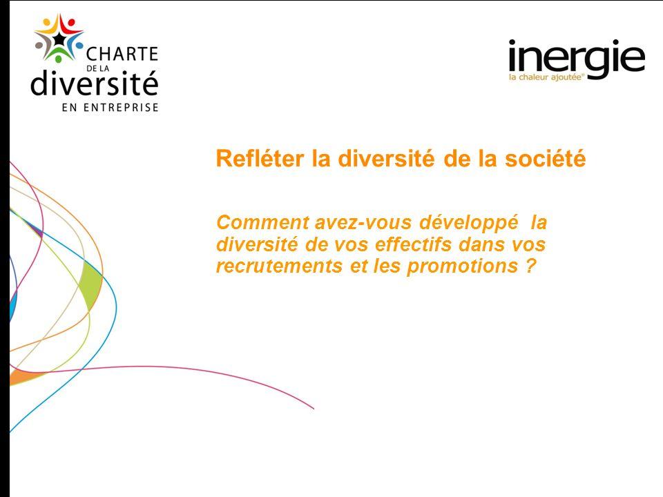 Refléter la diversité de la société Comment avez-vous développé la diversité de vos effectifs dans vos recrutements et les promotions ?