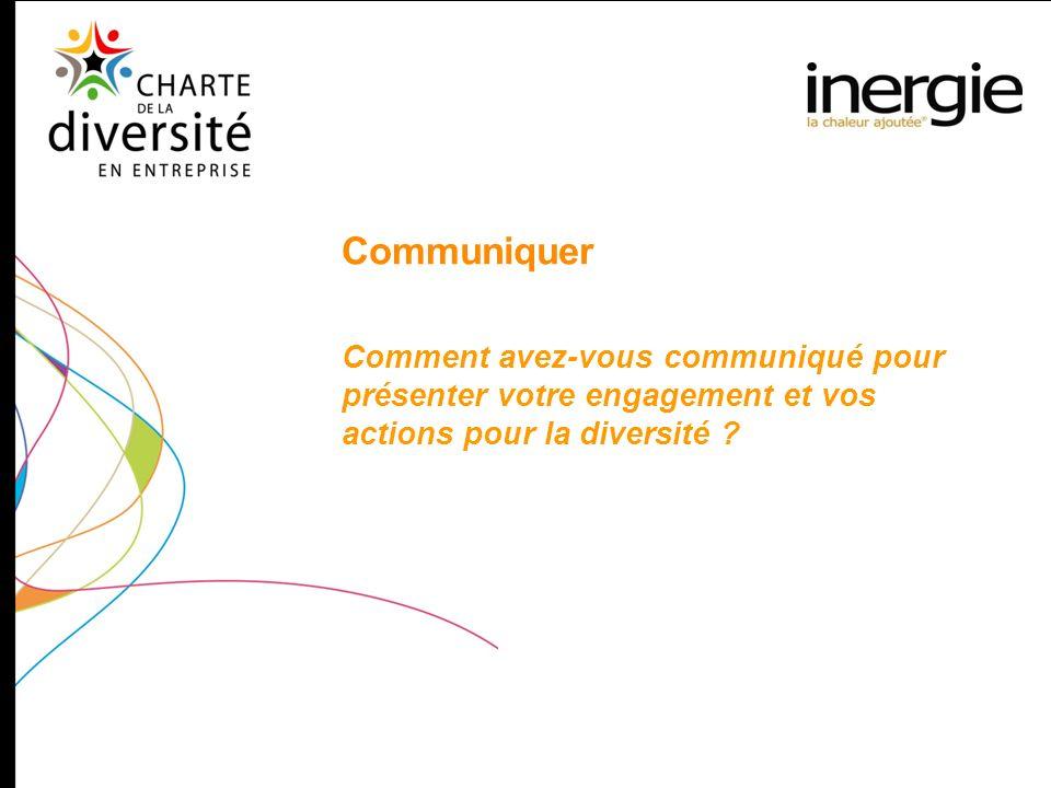 Communiquer Comment avez-vous communiqué pour présenter votre engagement et vos actions pour la diversité ?