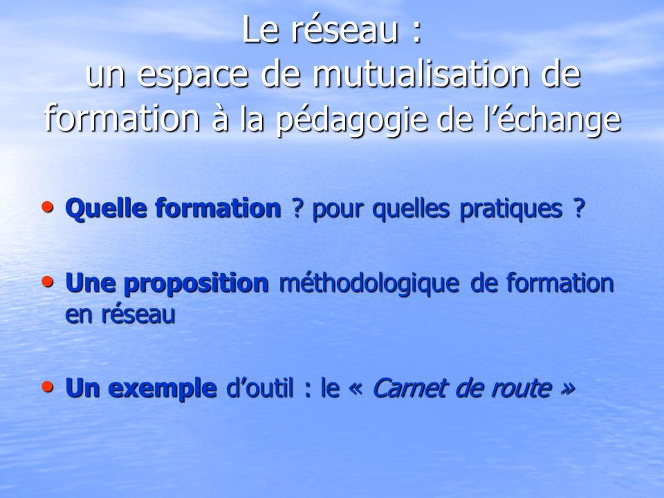 Le réseau : un espace de mutualisation de formation à la pédagogie de léchange Quelle formation .