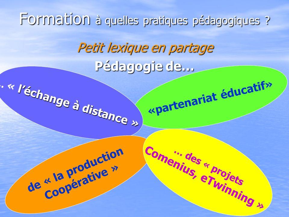 Formation à quelles pratiques pédagogiques ? Petit lexique en partage Pédagogie de… Pédagogie de léchange à distance «partenariat éducatif» léchange à