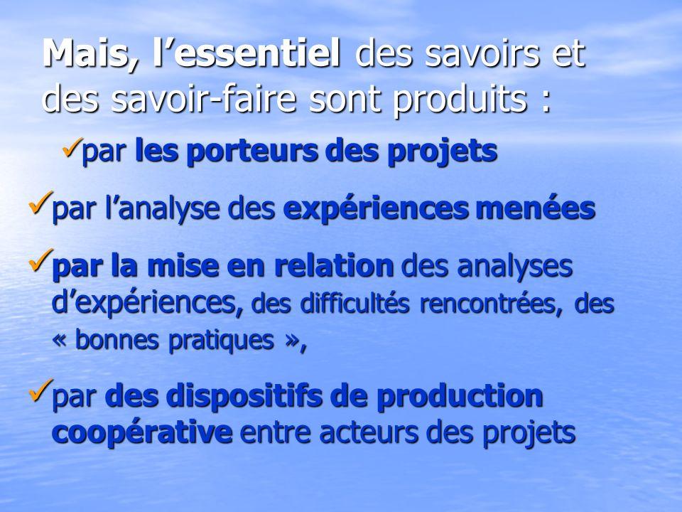 Mais, lessentiel des savoirs et des savoir-faire sont produits : par les porteurs des projets par les porteurs des projets par lanalyse des expérience