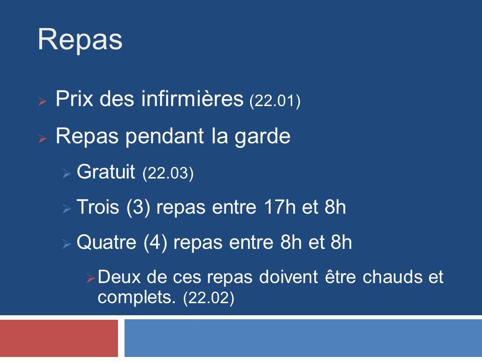 Repas Prix des infirmières (22.01) Repas pendant la garde Gratuit (22.03) Trois (3) repas entre 17h et 8h Quatre (4) repas entre 8h et 8h Deux de ces repas doivent être chauds et complets.