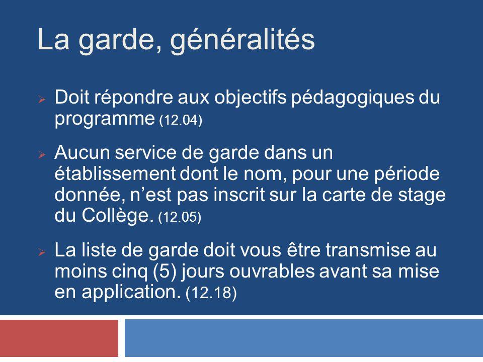 La garde, généralités Doit répondre aux objectifs pédagogiques du programme (12.04) Aucun service de garde dans un établissement dont le nom, pour une période donnée, nest pas inscrit sur la carte de stage du Collège.