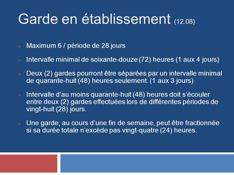 Garde en établissement (12.08) Maximum 6 / période de 28 jours Intervalle minimal de soixante-douze (72) heures (1 aux 4 jours) Deux (2) gardes pourront être séparées par un intervalle minimal de quarante-huit (48) heures seulement.