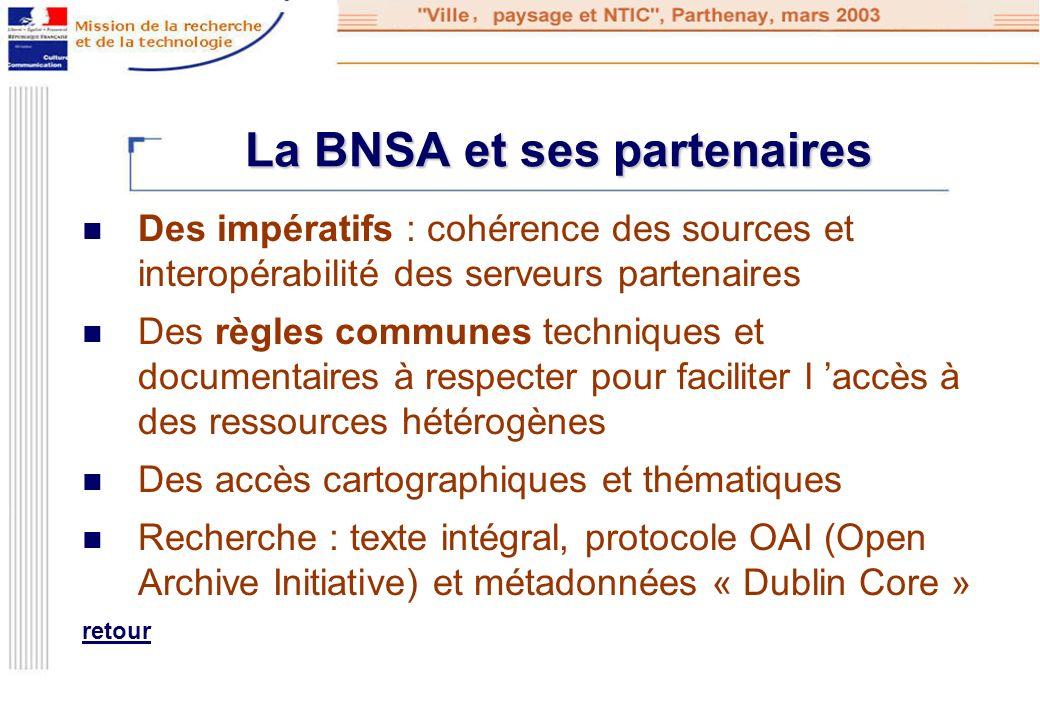 La BNSA et ses partenaires Des impératifs : cohérence des sources et interopérabilité des serveurs partenaires Des règles communes techniques et docum