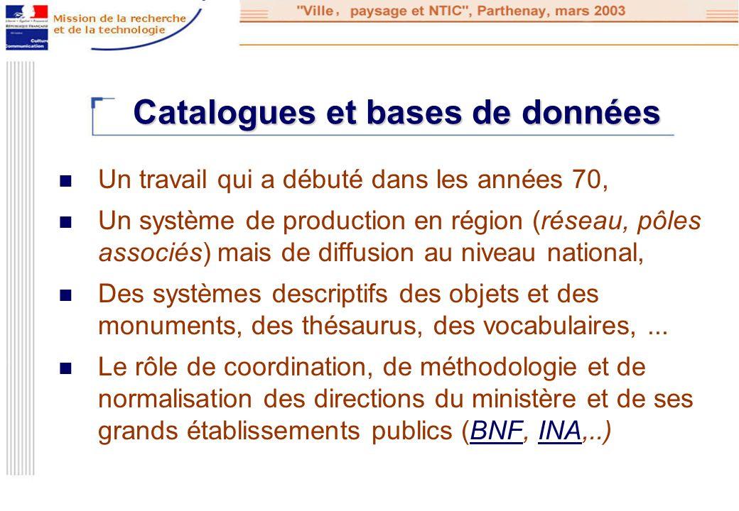 Catalogues et bases de données Un travail qui a débuté dans les années 70, Un système de production en région (réseau, pôles associés) mais de diffusi