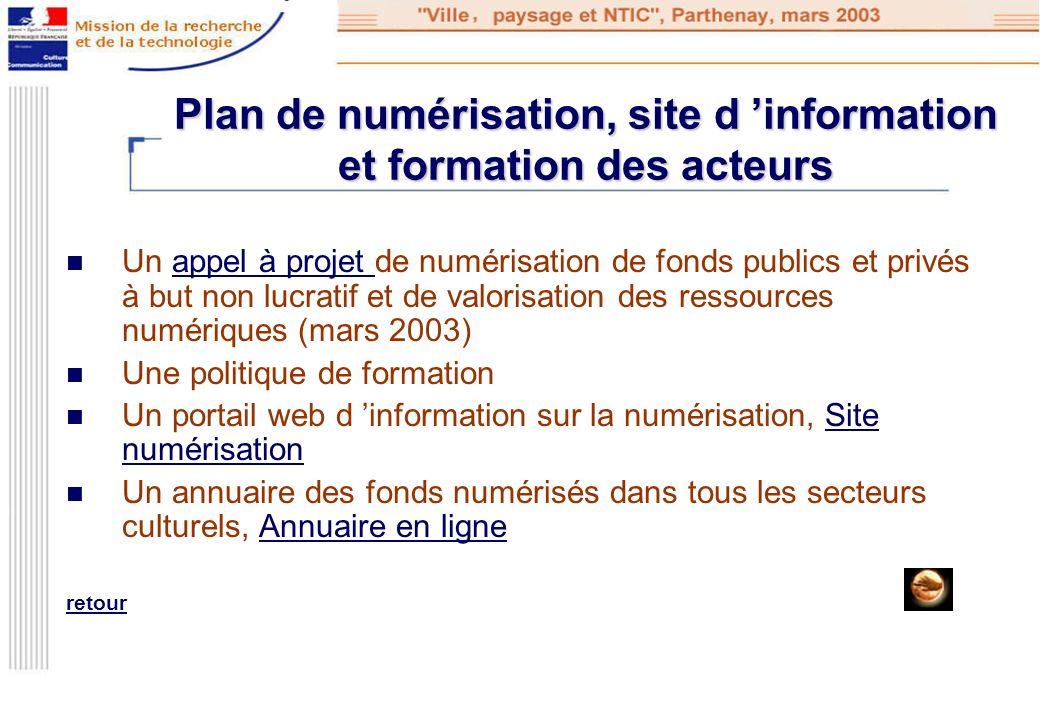 Plan de numérisation, site d information et formation des acteurs Un appel à projet de numérisation de fonds publics et privés à but non lucratif et d