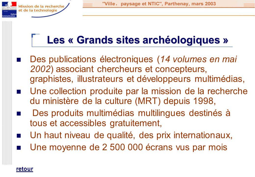 Les « Grands sites archéologiques » Des publications électroniques (14 volumes en mai 2002) associant chercheurs et concepteurs, graphistes, illustrat