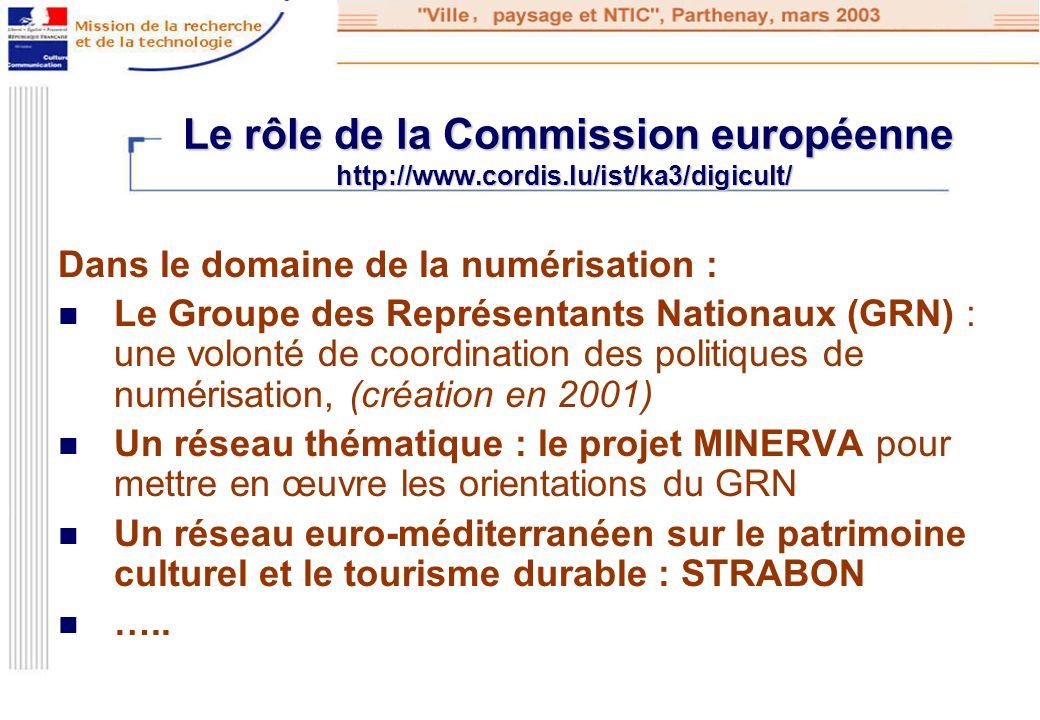 Le rôle de la Commission européenne http://www.cordis.lu/ist/ka3/digicult/ Le rôle de la Commission européenne http://www.cordis.lu/ist/ka3/digicult/