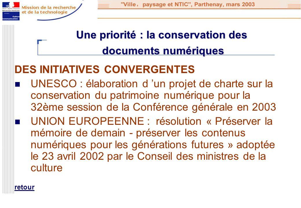 Une priorité : la conservation des documents numériques DES INITIATIVES CONVERGENTES UNESCO : élaboration d un projet de charte sur la conservation du