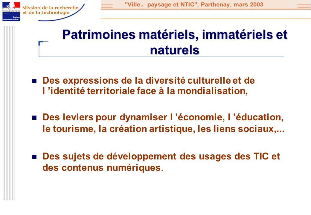 Patrimoines matériels, immatériels et naturels Des expressions de la diversité culturelle et de l identité territoriale face à la mondialisation, Des