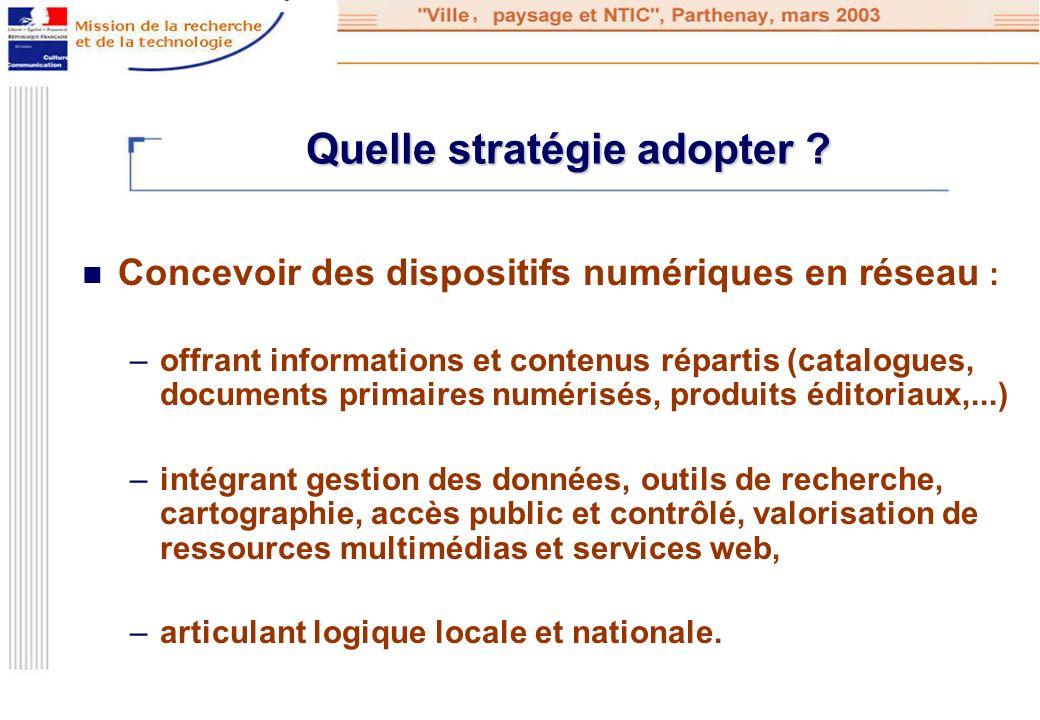 Quelle stratégie adopter ? Concevoir des dispositifs numériques en réseau : –offrant informations et contenus répartis (catalogues, documents primaire