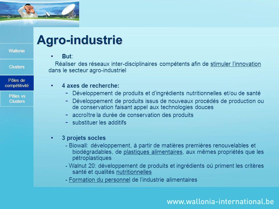Agro-industrie Wallonie Clusters Pôles de compétitivité But: Réaliser des réseaux inter-disciplinaires compétents afin de stimuler linnovation dans le