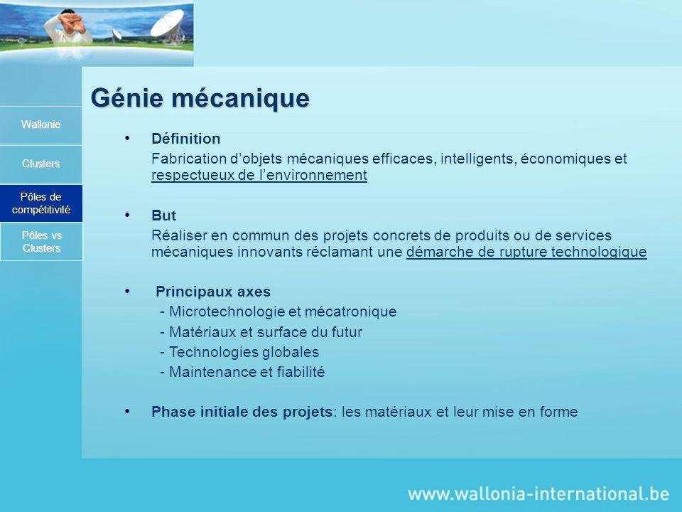 Génie mécanique Wallonie Clusters Pôles de compétitivité Définition Fabrication dobjets mécaniques efficaces, intelligents, économiques et respectueux