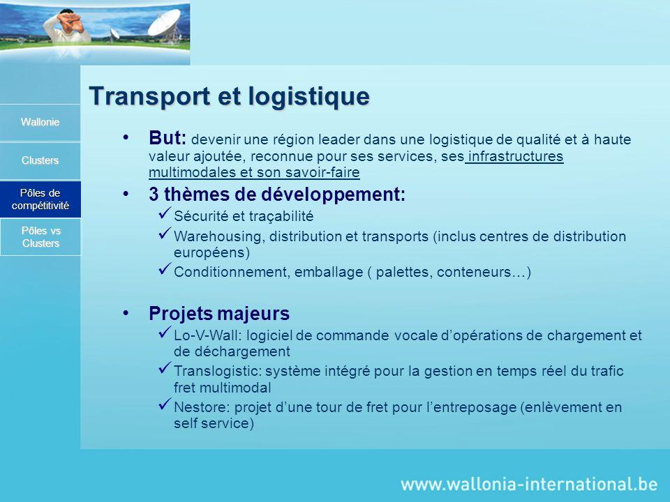 Transport et logistique Wallonie Clusters Pôles de compétitivité But: devenir une région leader dans une logistique de qualité et à haute valeur ajout