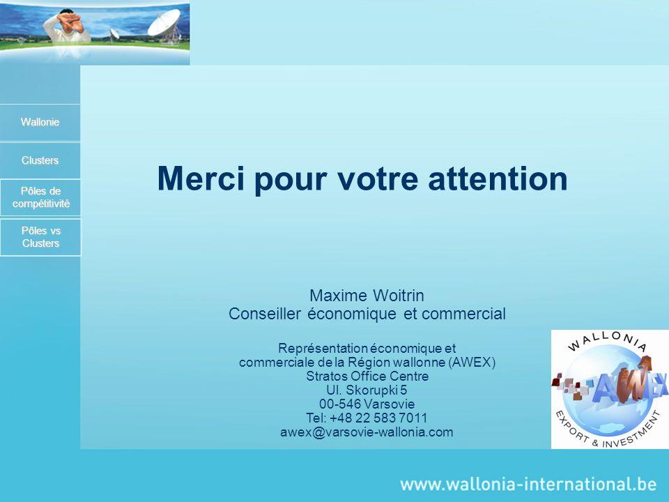 Wallonie Clusters Pôles de compétitivité Merci pour votre attention Maxime Woitrin Conseiller économique et commercial Représentation économique et commerciale de la Région wallonne (AWEX) Stratos Office Centre Ul.