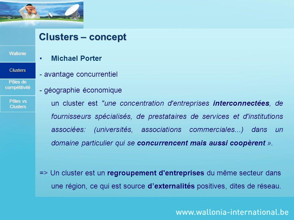 Clusters – concept Michael Porter - avantage concurrentiel - géographie économique un cluster est