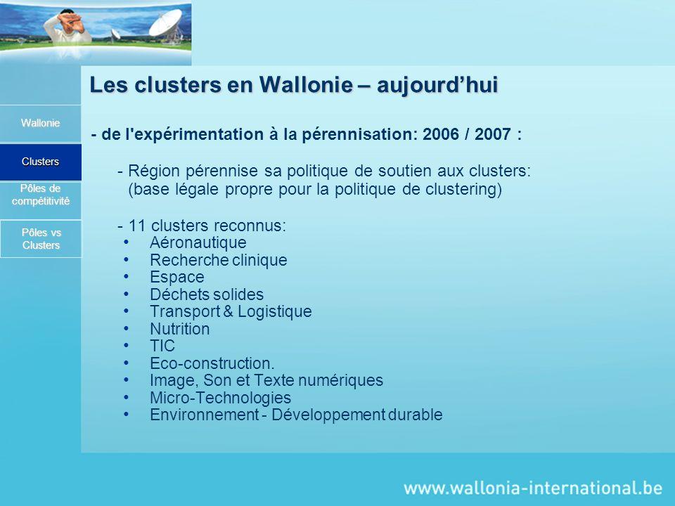 Les clusters en Wallonie – aujourdhui - de l'expérimentation à la pérennisation: 2006 / 2007 : - Région pérennise sa politique de soutien aux clusters