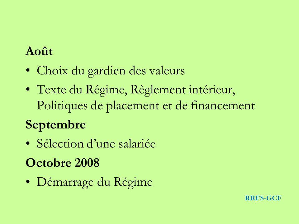 Août Choix du gardien des valeurs Texte du Régime, Règlement intérieur, Politiques de placement et de financement Septembre Sélection dune salariée Octobre 2008 Démarrage du Régime RRFS-GCF