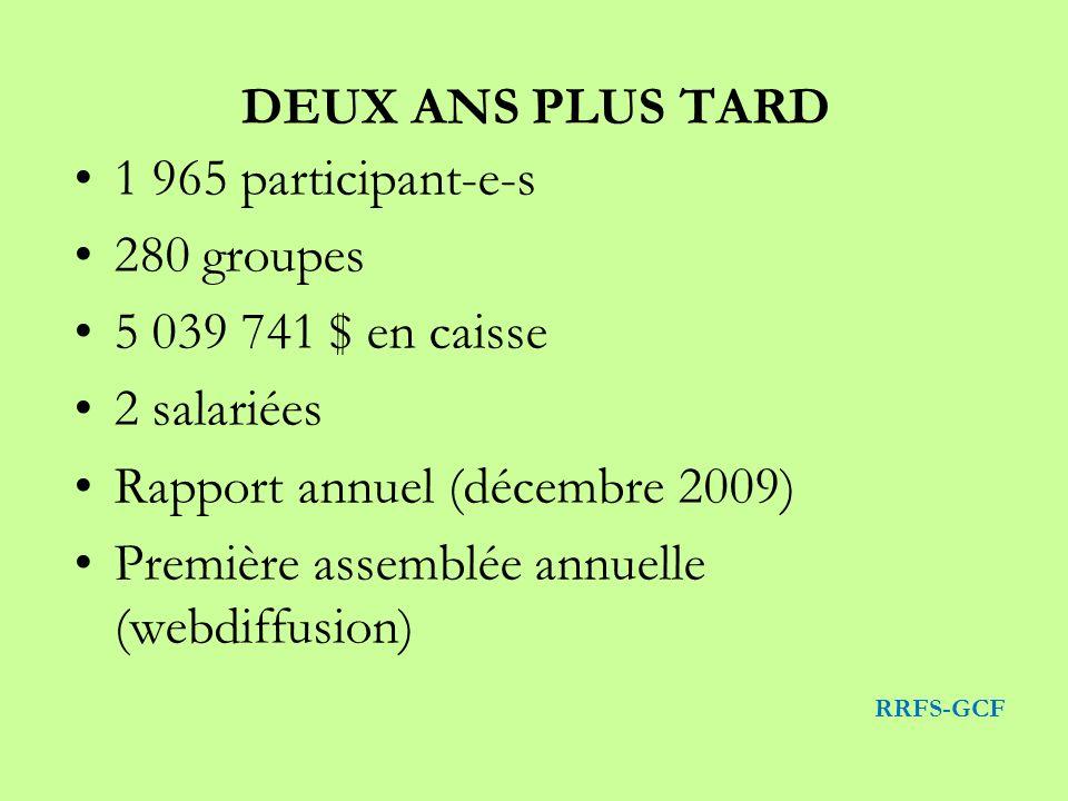DEUX ANS PLUS TARD 1 965 participant-e-s 280 groupes 5 039 741 $ en caisse 2 salariées Rapport annuel (décembre 2009) Première assemblée annuelle (webdiffusion) RRFS-GCF