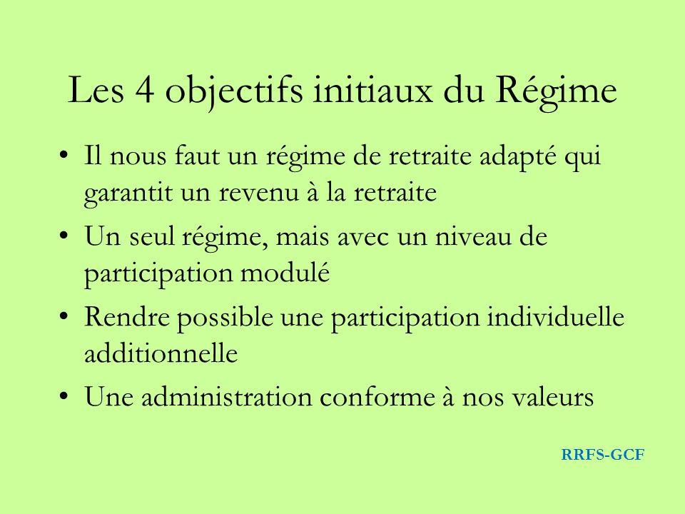 Les 4 objectifs initiaux du Régime Il nous faut un régime de retraite adapté qui garantit un revenu à la retraite Un seul régime, mais avec un niveau de participation modulé Rendre possible une participation individuelle additionnelle Une administration conforme à nos valeurs RRFS-GCF