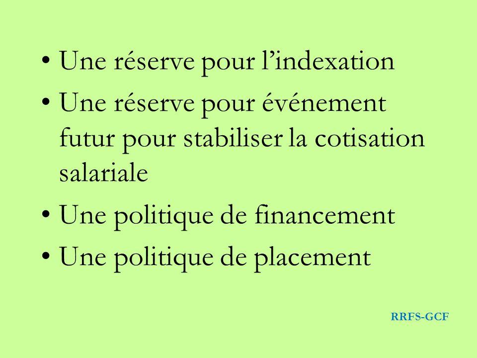 Une réserve pour lindexation Une réserve pour événement futur pour stabiliser la cotisation salariale Une politique de financement Une politique de placement RRFS-GCF
