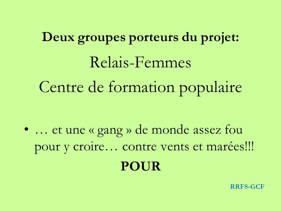 Relais-Femmes Centre de formation populaire … et une « gang » de monde assez fou pour y croire… contre vents et marées!!! POUR RRFS-GCF Deux groupes p