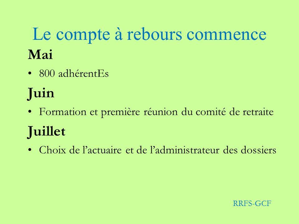 Le compte à rebours commence Mai 800 adhérentEs Juin Formation et première réunion du comité de retraite Juillet Choix de lactuaire et de ladministrateur des dossiers RRFS-GCF