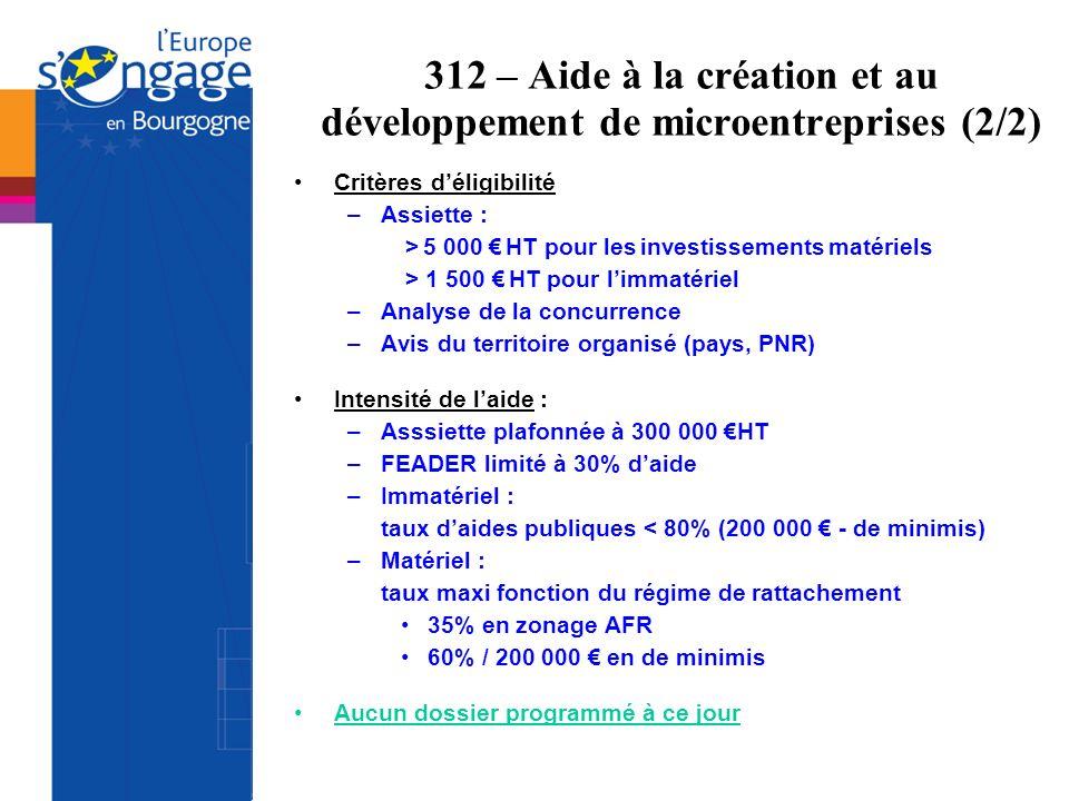 312 – Aide à la création et au développement de microentreprises (2/2) Critères déligibilité –Assiette : > 5 000 HT pour les investissements matériels