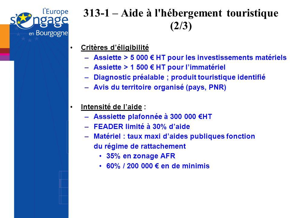 313-1 – Aide à l'hébergement touristique (2/3) Critères déligibilité –Assiette > 5 000 HT pour les investissements matériels –Assiette > 1 500 HT pour