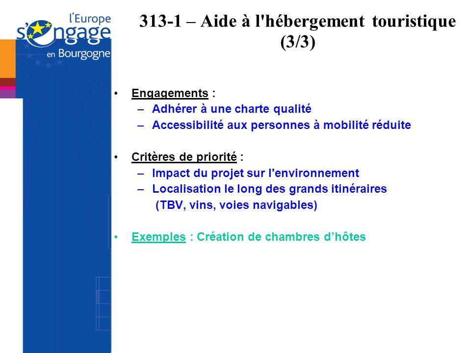 313-1 – Aide à l'hébergement touristique (3/3) Engagements : –Adhérer à une charte qualité –Accessibilité aux personnes à mobilité réduite Critères de
