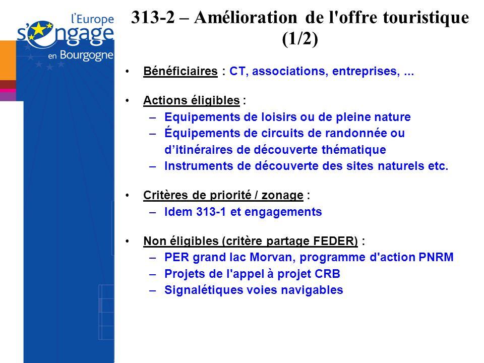 313-2 – Amélioration de l'offre touristique (1/2) Bénéficiaires : CT, associations, entreprises,... Actions éligibles : –Equipements de loisirs ou de