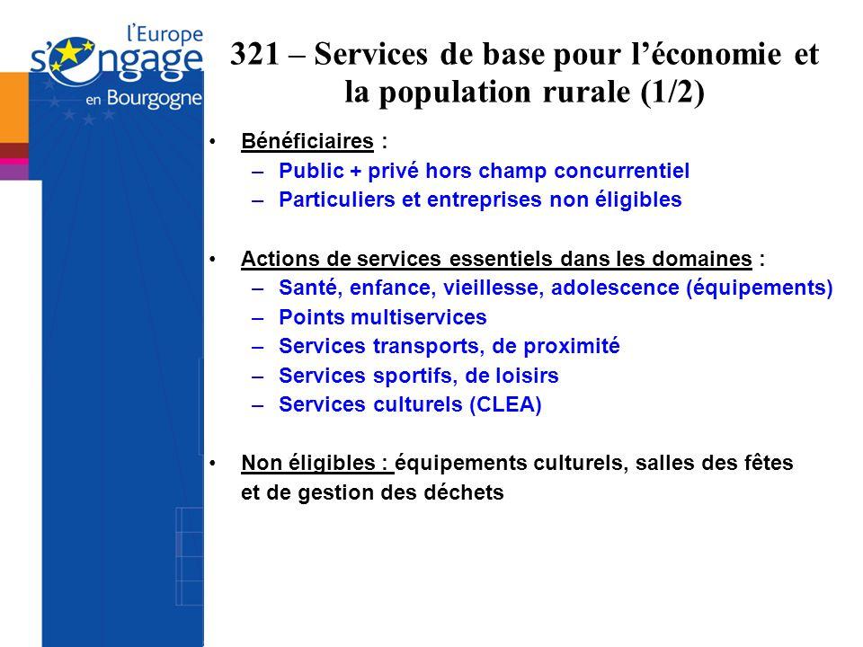 321 – Services de base pour léconomie et la population rurale (1/2) Bénéficiaires : –Public + privé hors champ concurrentiel –Particuliers et entrepri