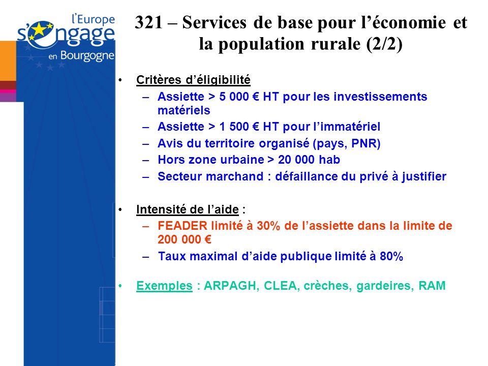 Critères déligibilité –Assiette > 5 000 HT pour les investissements matériels –Assiette > 1 500 HT pour limmatériel –Avis du territoire organisé (pays