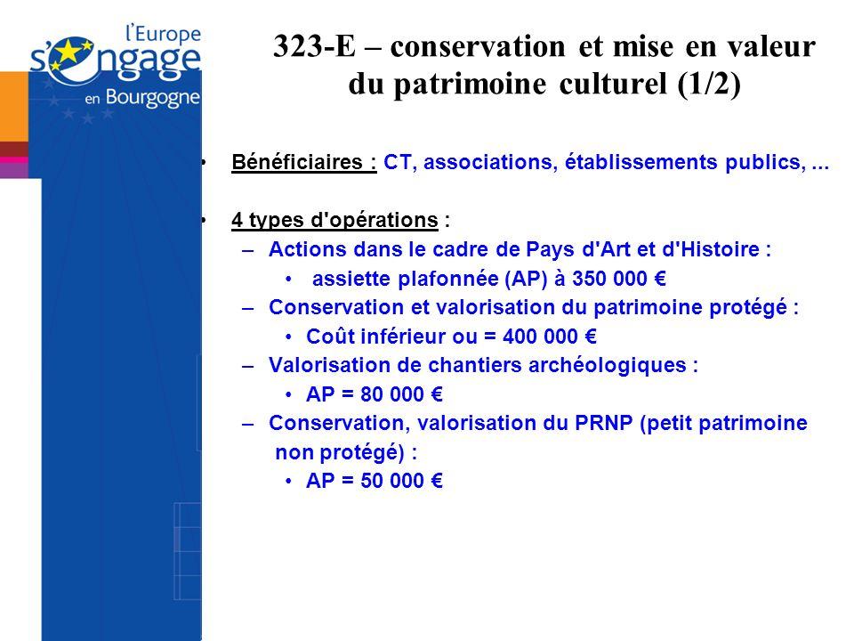 323-E – conservation et mise en valeur du patrimoine culturel (1/2) Bénéficiaires : CT, associations, établissements publics,... 4 types d'opérations