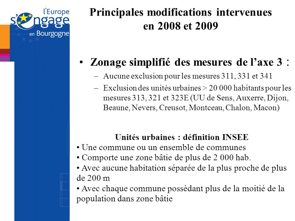 Principales modifications intervenues en 2008 et 2009 Zonage simplifié des mesures de laxe 3 : –Aucune exclusion pour les mesures 311, 331 et 341 –Exc