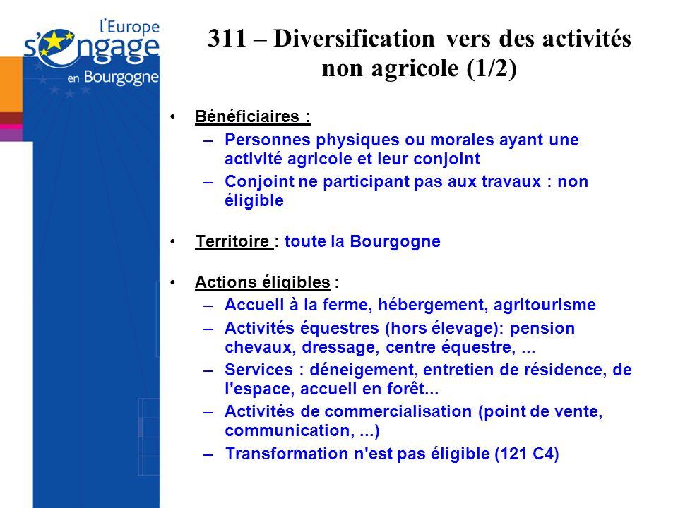 311 – Diversification vers des activités non agricole (1/2) Bénéficiaires : –Personnes physiques ou morales ayant une activité agricole et leur conjoi