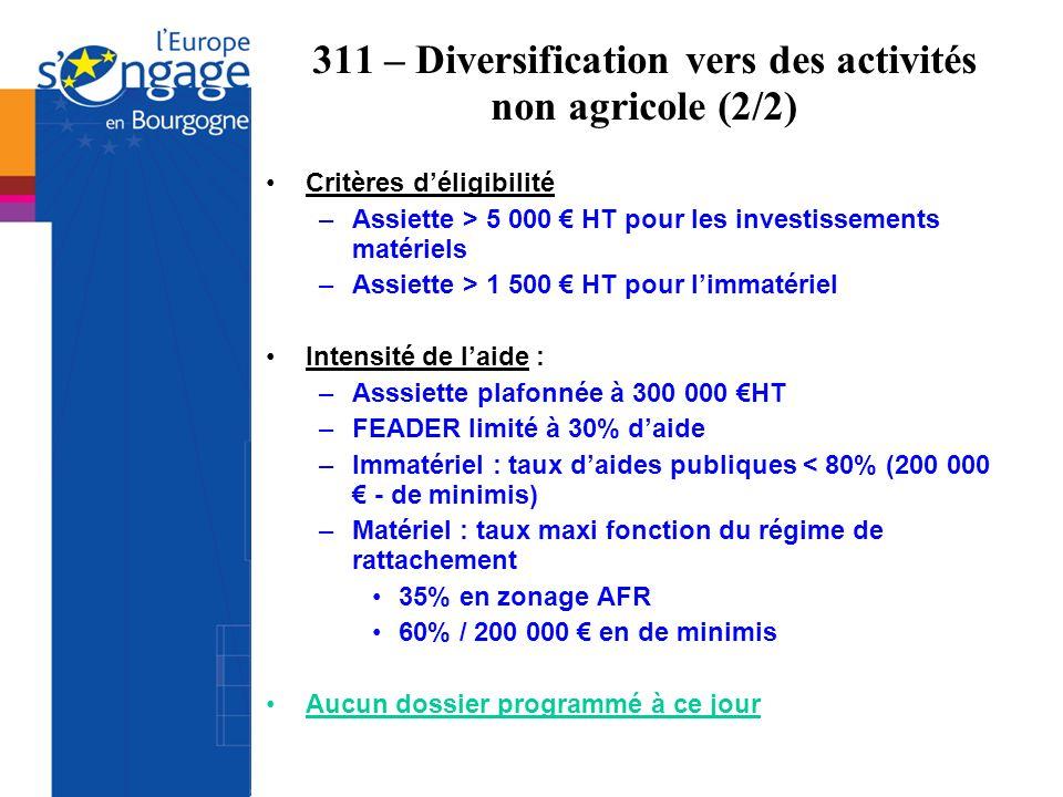 311 – Diversification vers des activités non agricole (2/2) Critères déligibilité –Assiette > 5 000 HT pour les investissements matériels –Assiette >
