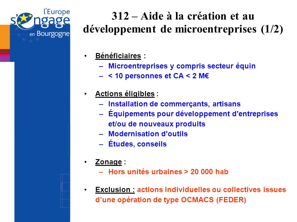 312 – Aide à la création et au développement de microentreprises (1/2) Bénéficiaires : –Microentreprises y compris secteur équin –< 10 personnes et CA