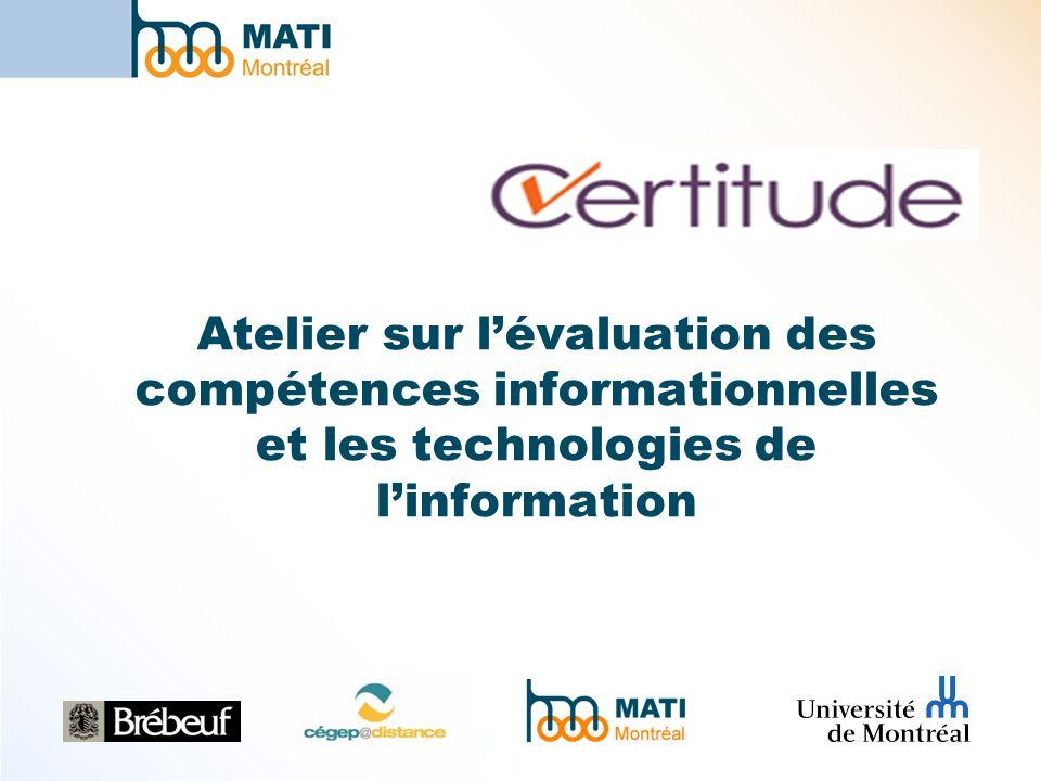 Atelier sur lévaluation des compétences informationnelles et les technologies de linformation