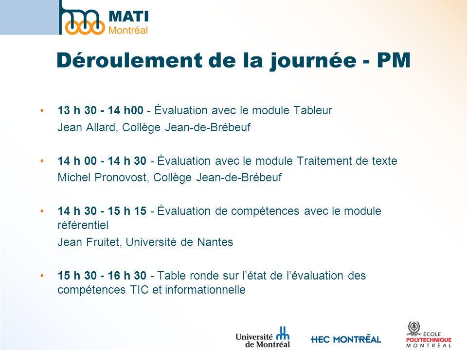 Déroulement de la journée - PM 13 h 30 - 14 h00 - Évaluation avec le module Tableur Jean Allard, Collège Jean-de-Brébeuf 14 h 00 - 14 h 30 - Évaluatio