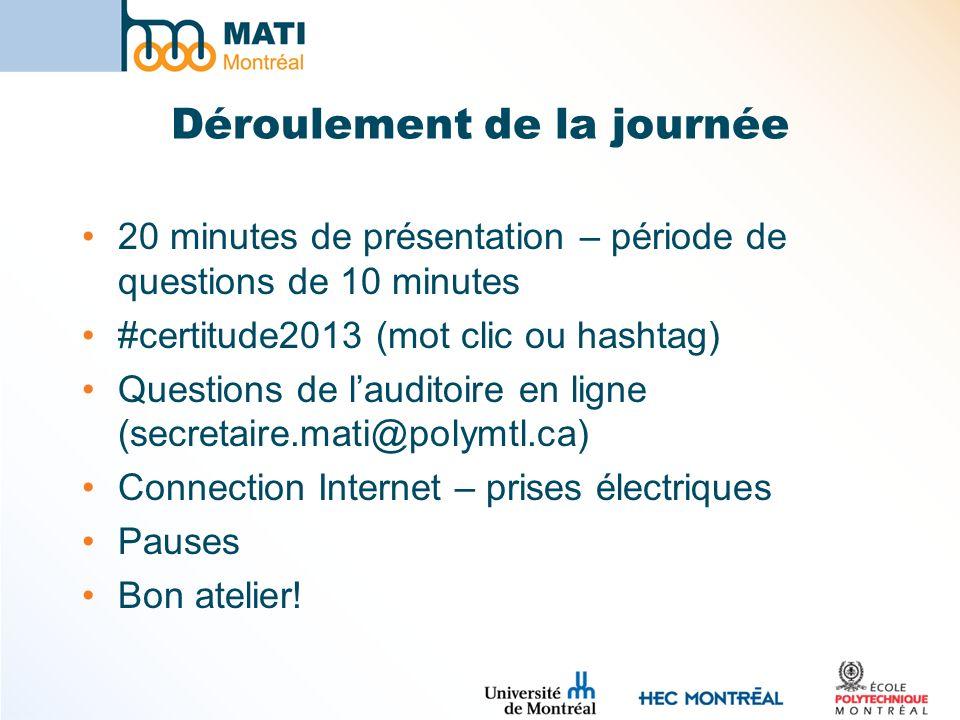 Déroulement de la journée 20 minutes de présentation – période de questions de 10 minutes #certitude2013 (mot clic ou hashtag) Questions de lauditoire