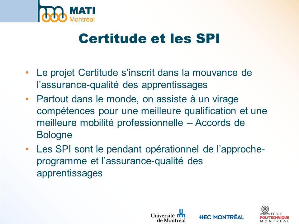 Certitude et les SPI Le projet Certitude sinscrit dans la mouvance de lassurance-qualité des apprentissages Partout dans le monde, on assiste à un vir