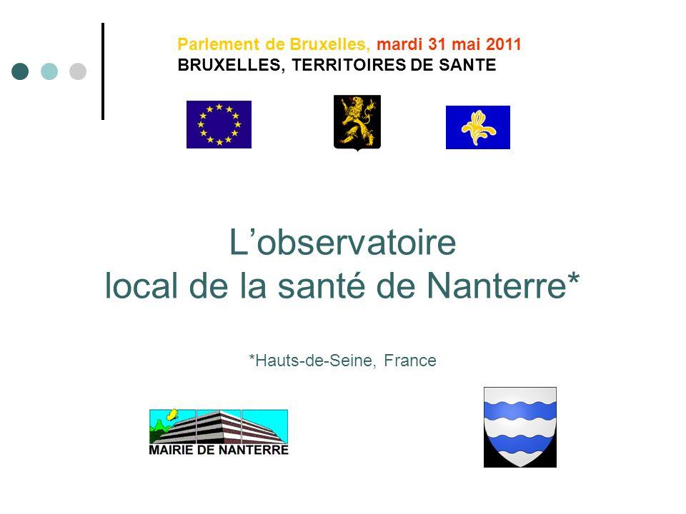 Lobservatoire local de la santé de Nanterre* *Hauts-de-Seine, France Parlement de Bruxelles, mardi 31 mai 2011 BRUXELLES, TERRITOIRES DE SANTE