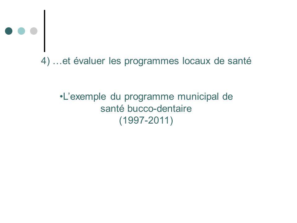 4) …et évaluer les programmes locaux de santé Lexemple du programme municipal de santé bucco-dentaire (1997-2011)