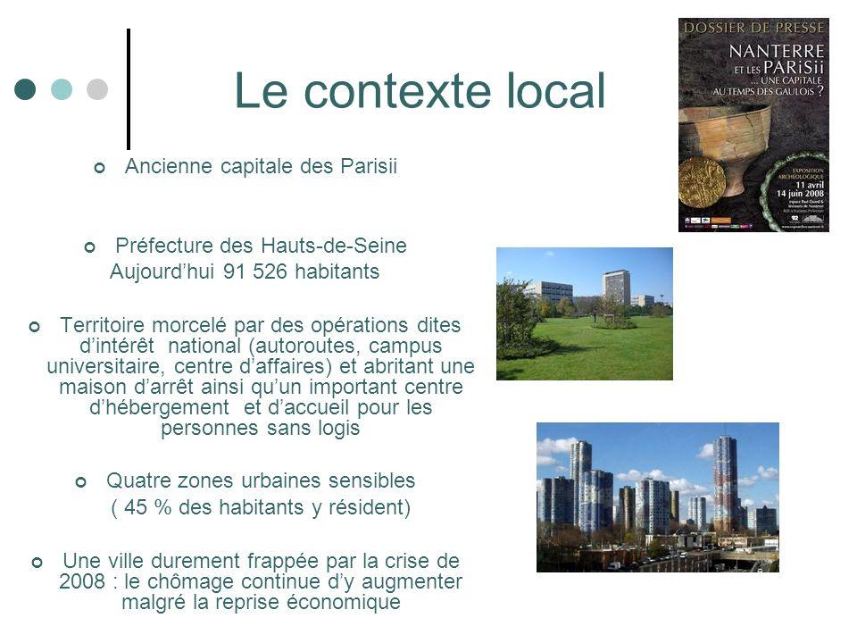 Le contexte local Ancienne capitale des Parisii Préfecture des Hauts-de-Seine Aujourdhui 91 526 habitants Territoire morcelé par des opérations dites