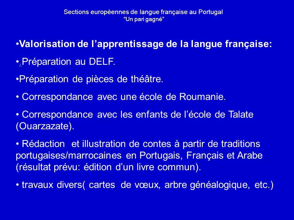 Valorisation de lapprentissage de la langue française:.Préparation au DELF..