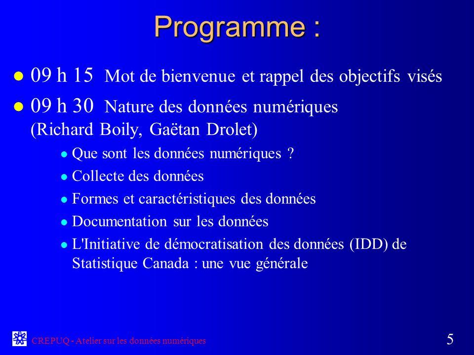 CREPUQ - Atelier sur les données numériques 5 Programme : l 09 h 15 Mot de bienvenue et rappel des objectifs visés l 09 h 30 Nature des données numériques (Richard Boily, Gaëtan Drolet) l Que sont les données numériques .